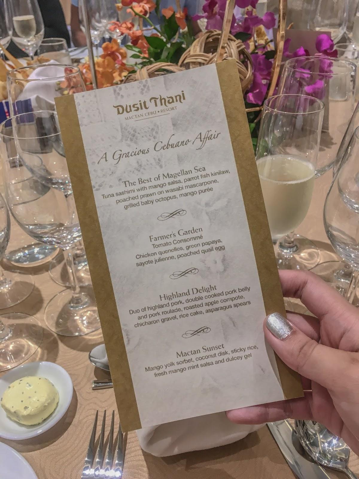 Dusit Thani Mactan grand opening menu
