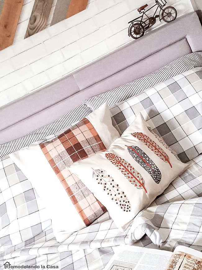 Target Feathers placemat as pillow cover - Teen boy room - plaid sheet set