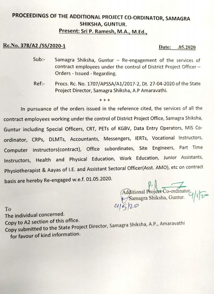 Guntur District 2020 Re-engagement Orders