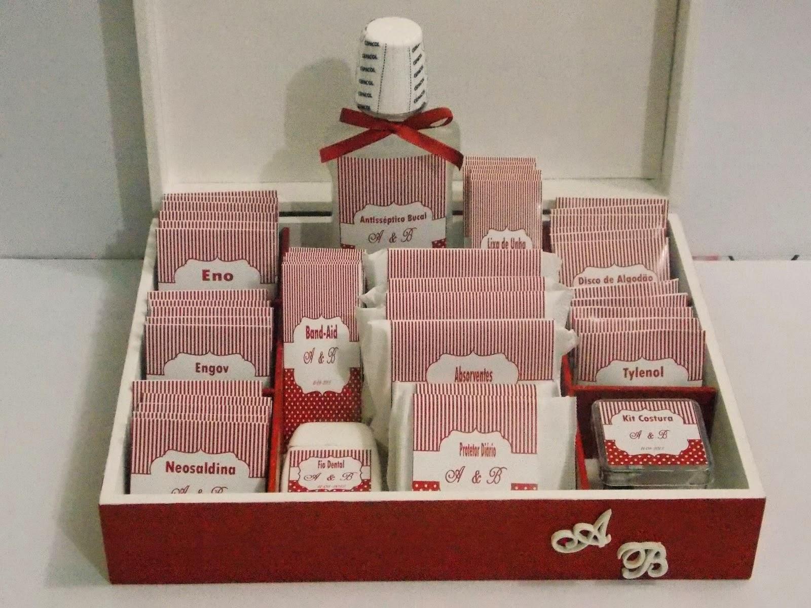 ideias criativas para casamento - kit de emergência para os banheiros