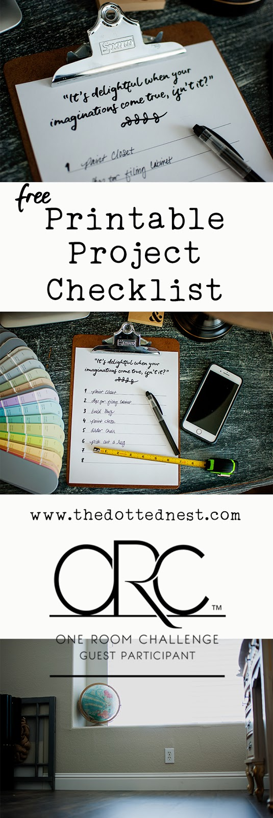 Free Printable Project Checklist and One Room Challenge Update