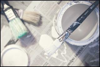 White Acrylic Paint tub along with brush