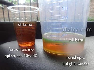 perbandingan oli lama dan oli baru
