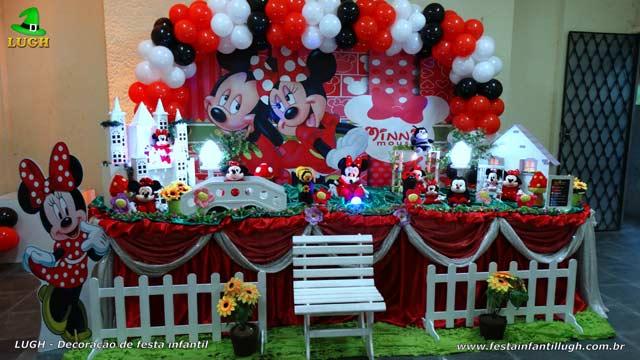Mesa temática tradicional luxo de tecido - Decoração mesa de aniversário Minnie vermelha para festa infantil feminina
