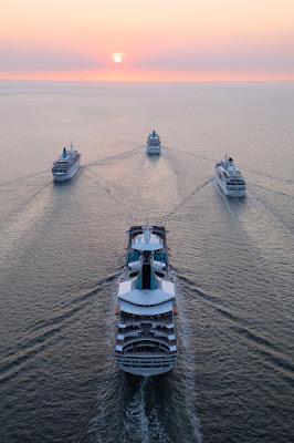 Phoenix Reisen Ships On the Approach to Hamburg for Phoenix Reisen's 30th Anniversary
