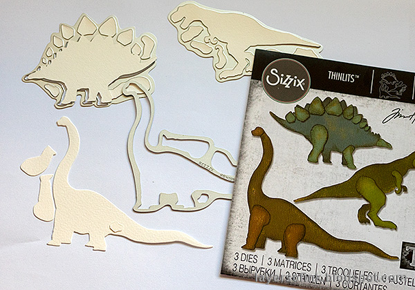 Layers of ink - Dinosaur Cards Tutorial by Anna-Karin Evaldsson. Die cut with Tim Holtz Sizzix Preshistoric set.