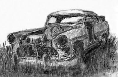 charcoal sketch 1953 classic car Pontiac abandoned