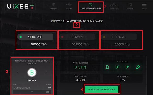 كيفية شراء سرعة التعدين في موقع Vixes