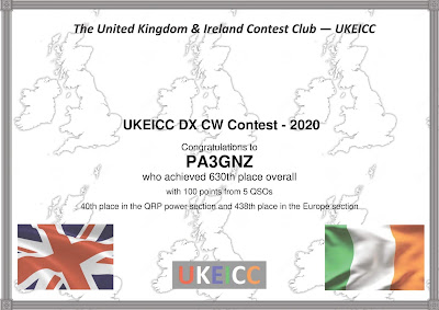 PA3GNZ certificaat UK/EI DX CW contest