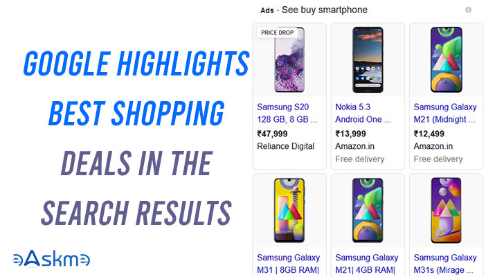 Google Highlights Best Shopping deals in the Search Results: eAskme