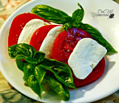 Homegrown basil and tomatoes, and mozzarella cheese.