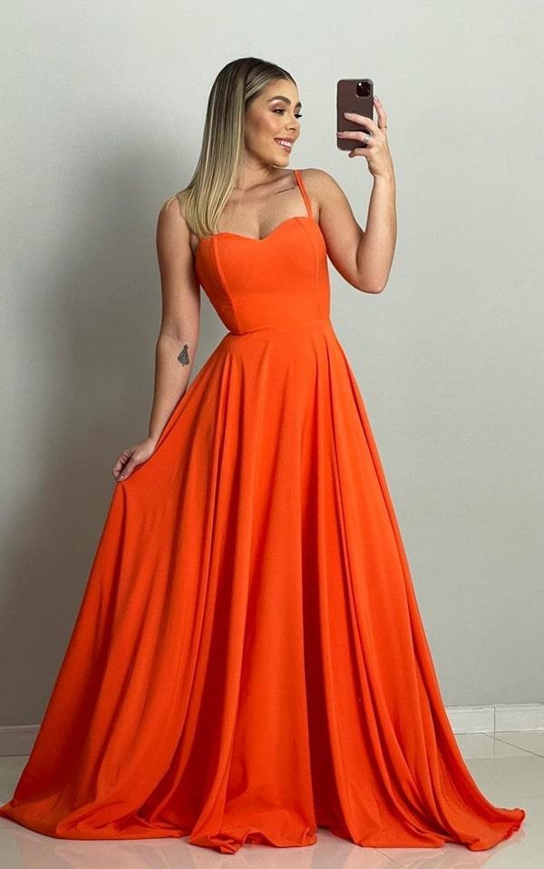 vestido longo laranja