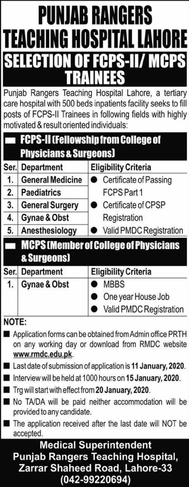 Jobs in Punjab Rangers Teaching Hospital Lahore 2020