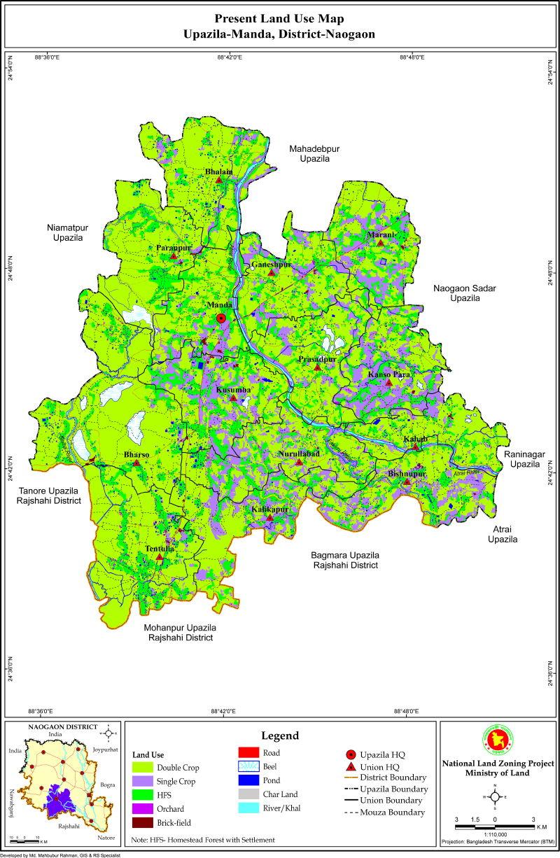 Manda Upazila Mouza Map Naogaon District Bangladesh