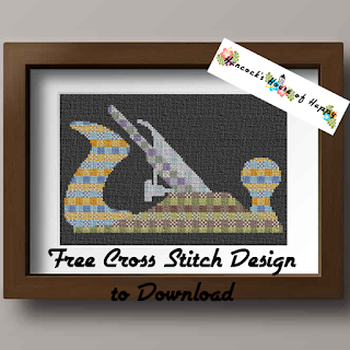 Cross Stitch Silhouette of a Wood Plane with Cross Stitch Tartan Pattern Filling.