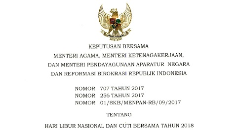 Pemerintah Tetapkan Libur Nasional dan Cuti Bersama Tahun 2018