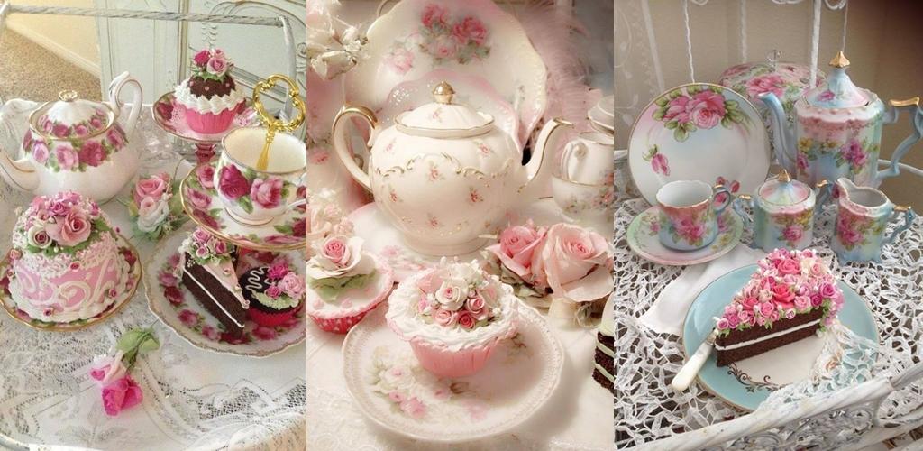 chá, louças, porcelana, decoração, xícaras, bule, aparador, renda, café da tarde, chá das cinco, chá das 5, tea five,