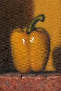 Still life oil painting of a yellow pepper.