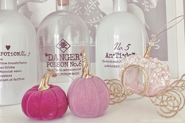 Mini pink pumpkins and cinderella carriage