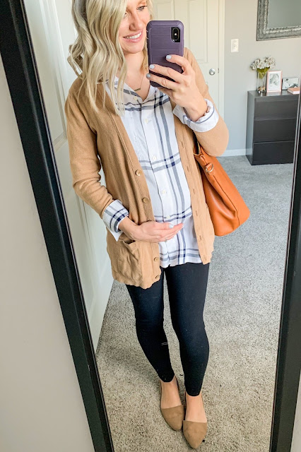 Button down shirt layered with a cardigan