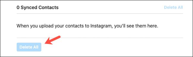 احذف جهات الاتصال المتزامنة على موقع Instagram