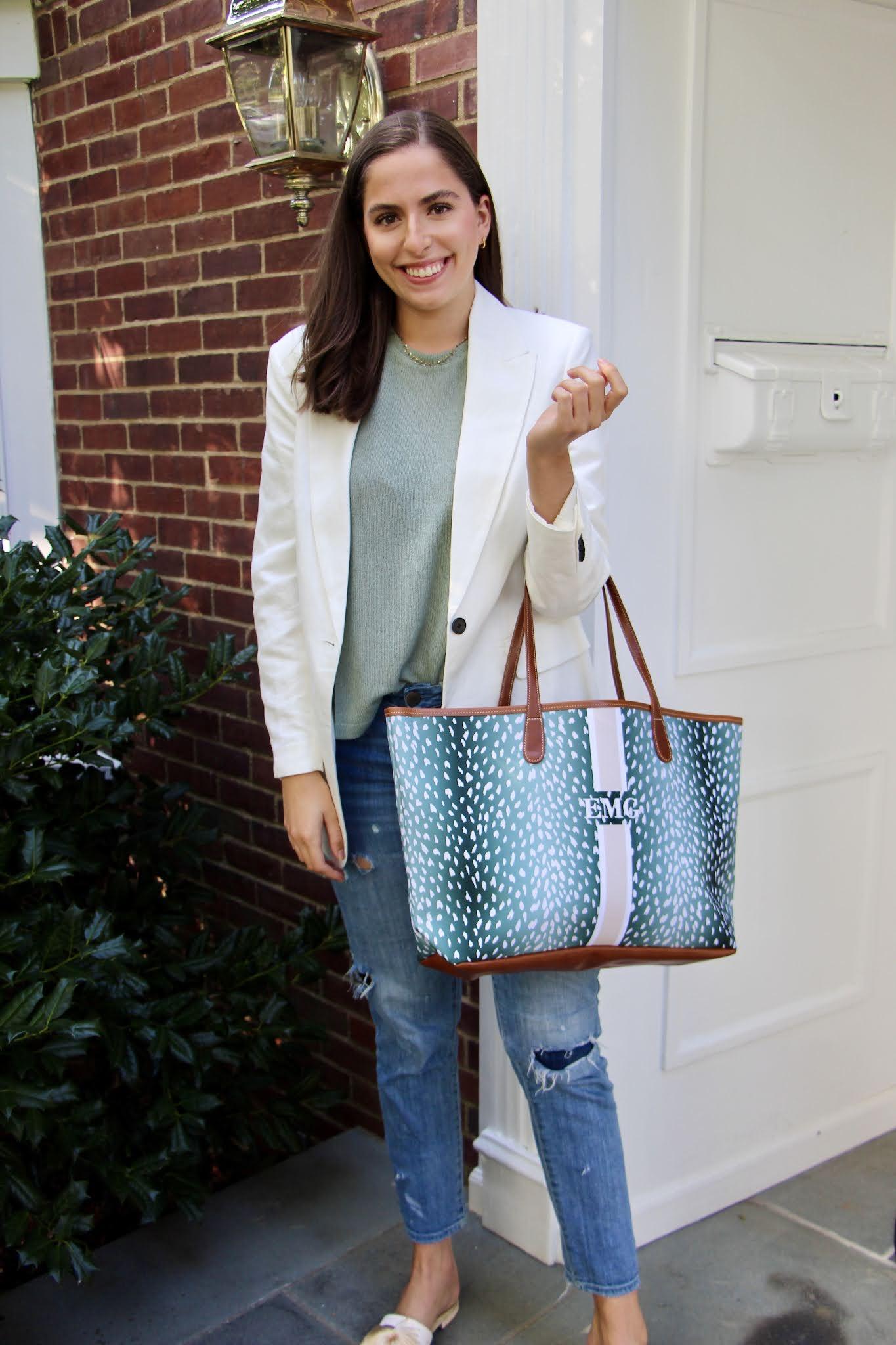 boyfriend jeans, ripped jeans, white blazer, white oversized blazer, h&m, barrington tote bag,