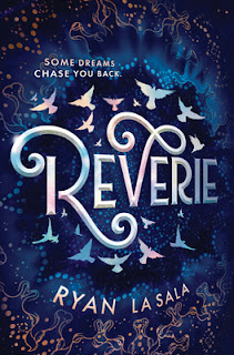 "The word ""Reverie"" on a dark blue background surrounded by rings of stylized white birds and orange outlines implying animal forms."