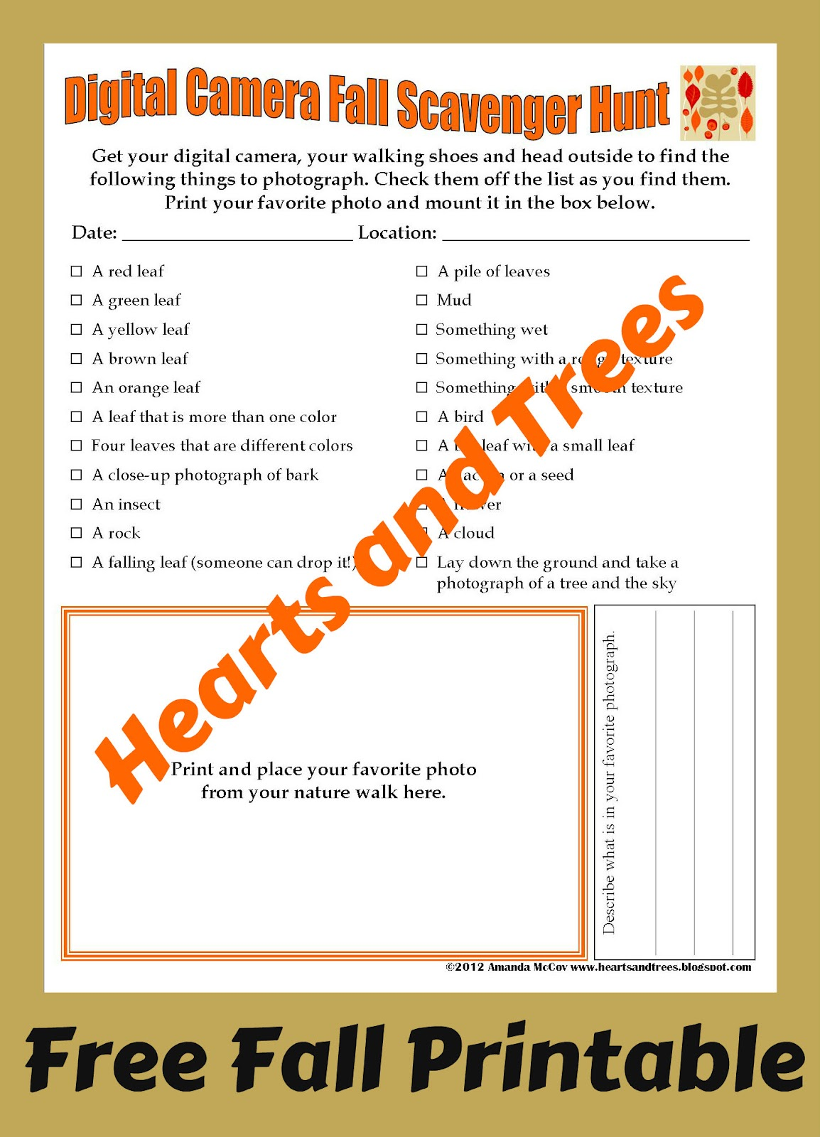 photo relating to Fall Scavenger Hunt Printable called Hearts and Trees: Electronic Digital camera Scavenger Hunt Absolutely free Printable