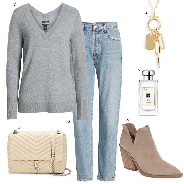 grey v-neck sweater, light wash slim girlfriend jeans, suede ankle booties