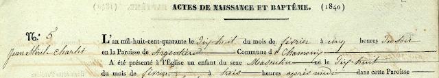 Extrait de l'acte de naissance de Jean Stéril Charlet 1840
