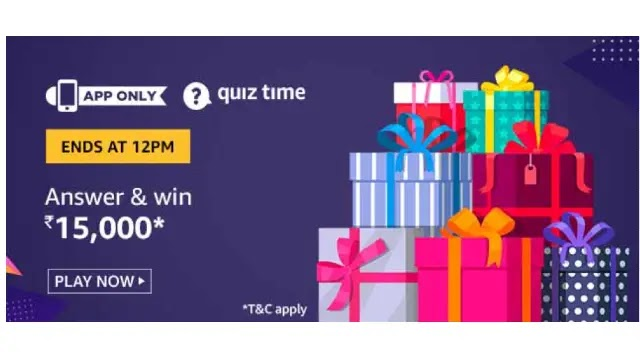 Amazon Quiz Answers For Today 22nd June 2020 - Win Rs.15000 Amazon Pay Balance