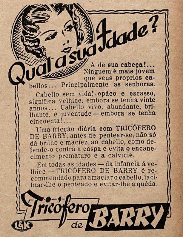 Propaganda de fortalecedor de cabelos veiculada em 1938