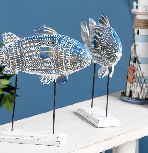 Fish Figurines on Pedestal Stand