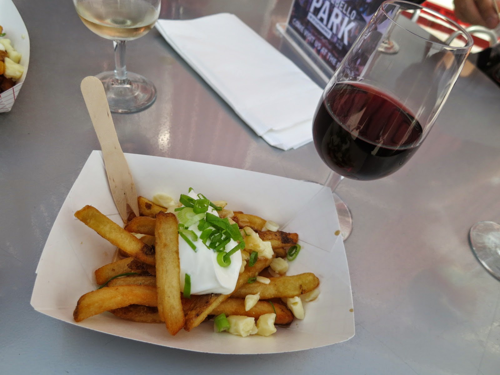Chef Collin Goodine's baked potato poutine with 2010 Pillitteri Cabernet Franc