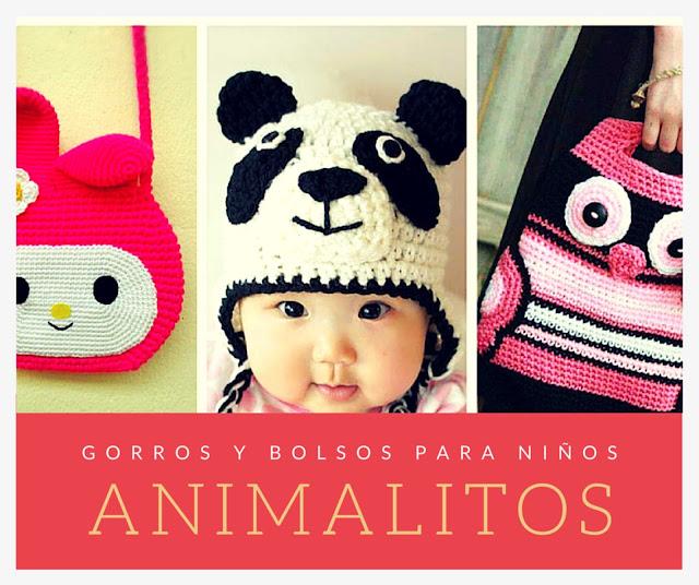 Gorros y Bolsos de Animalitos para Niños a Ganchillo
