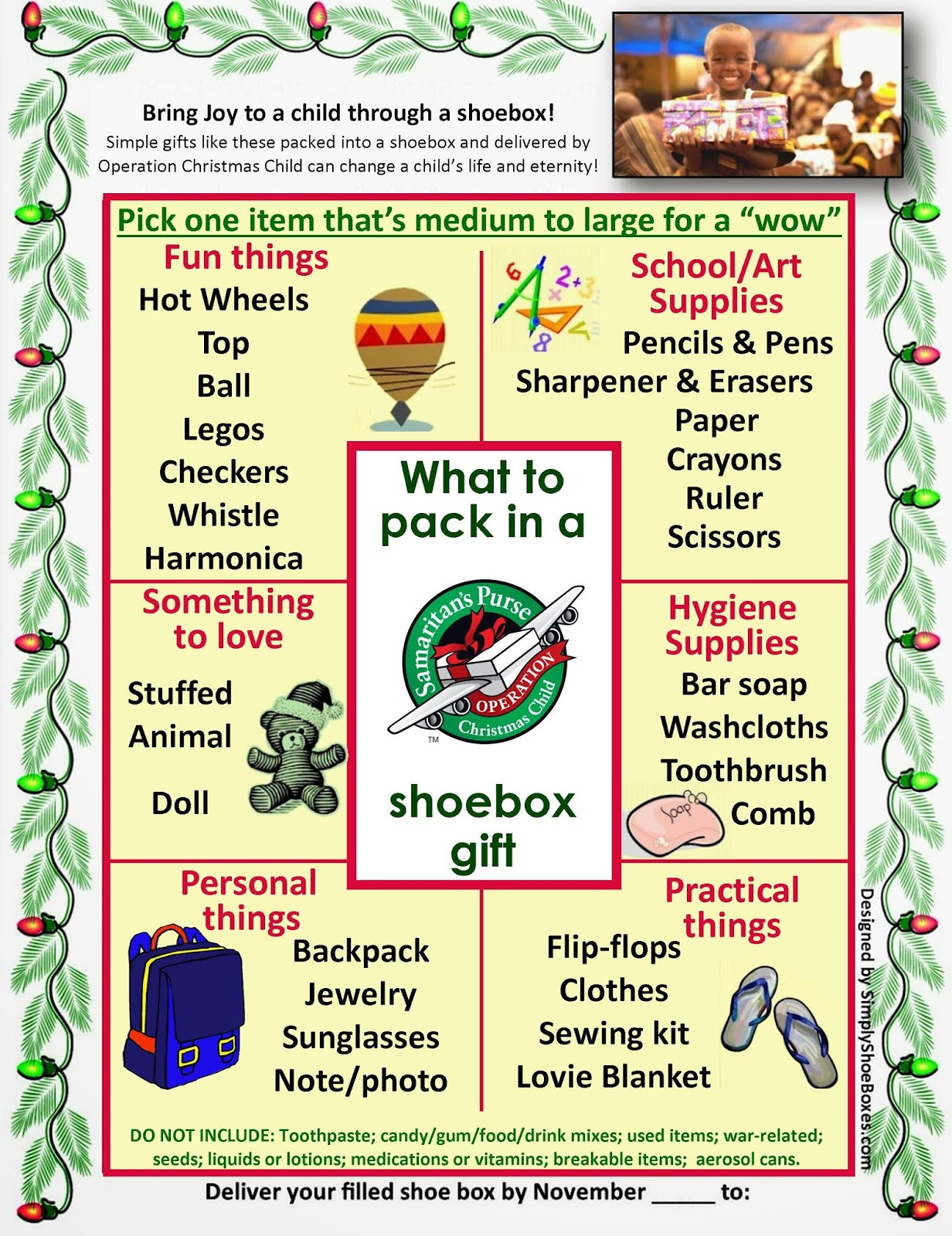 Operation Christmas Child Labels Printable.Simply Shoeboxes Free Poster Of Shoebox Item Ideas