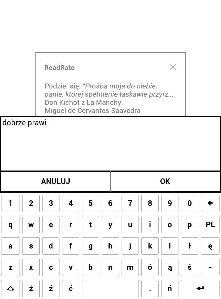 PocketBook Aqua 2 – dodawanie komentarza w aplikacji ReadRate do cytatu