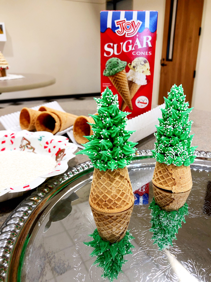 Scenes from a Gingerbread House Decorating Event + tree making station