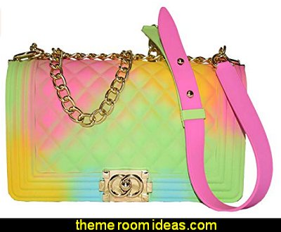 Color Handbags Ladies Shoulder Bag PVC Fashion Handbags Color Matte Matte Rhombic Jelly Bag