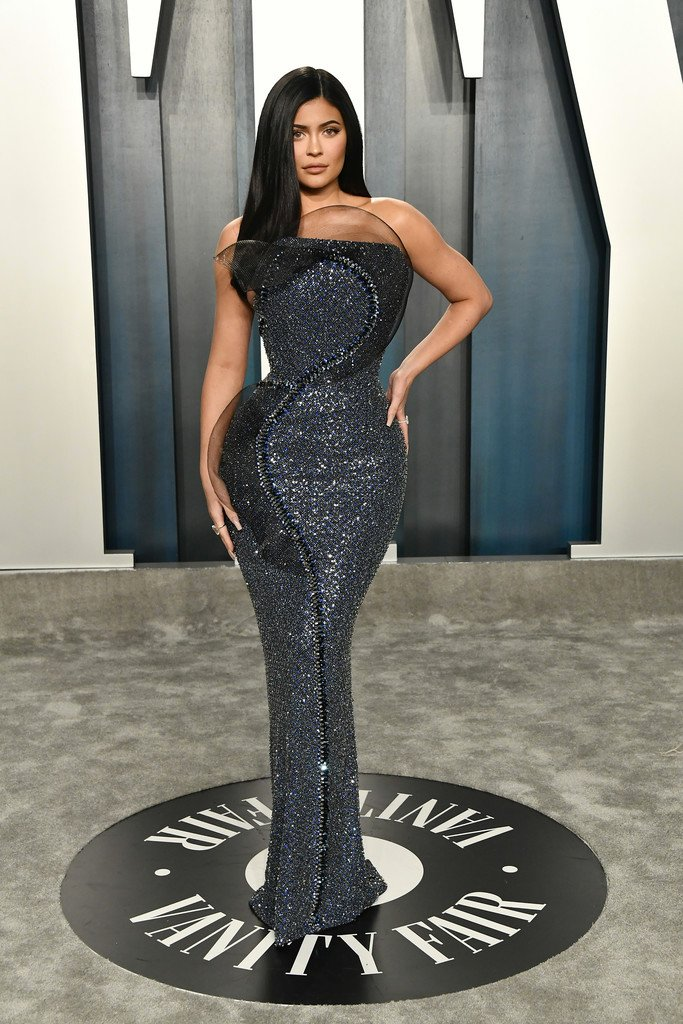 Kylie Jenner wore a Ralph and Russo Spring 2020 Couture navy tulle and black crinoline strapless gown