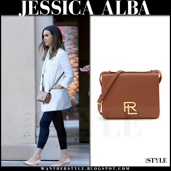 Jessica Alba with brown leather cross body bag from Ralph Lauren what she wore