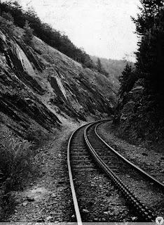 Szyna zębata w wąwozie przed stacją Srebrna Góra Twierdza