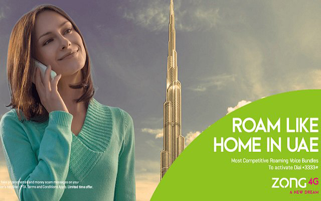 Zong Launches For Prepaid Customers Roaming Packages for UAE