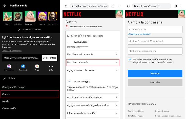Cómo cambiar la contraseña de Netflix paso a paso