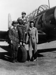 Avenger Field, Sweetwater, Texas; Faith Buchner, Hazel Ying Lee and Grace Clark with BT-13.