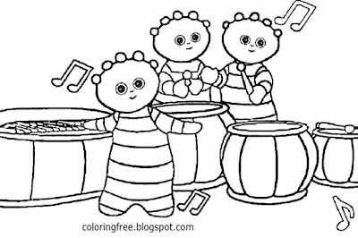 Picture of Tombliboos band music easy kids coloring ideas In the night garden drawings for beginners