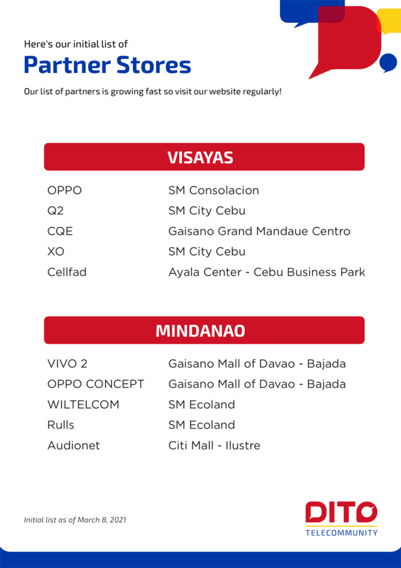 The initial list of stores where you can buy DITO SIM cards
