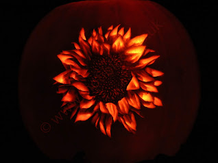 A sunflower image carved onto a pumpkin