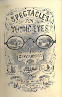 Frontispiece for the Spectacles book, showing a large pair of eyeglasses within which various daily scenes are portrayed.