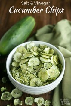 Baked Cucumber Chips with Salt & Vinegar Flavor #cucumber #vegetarian